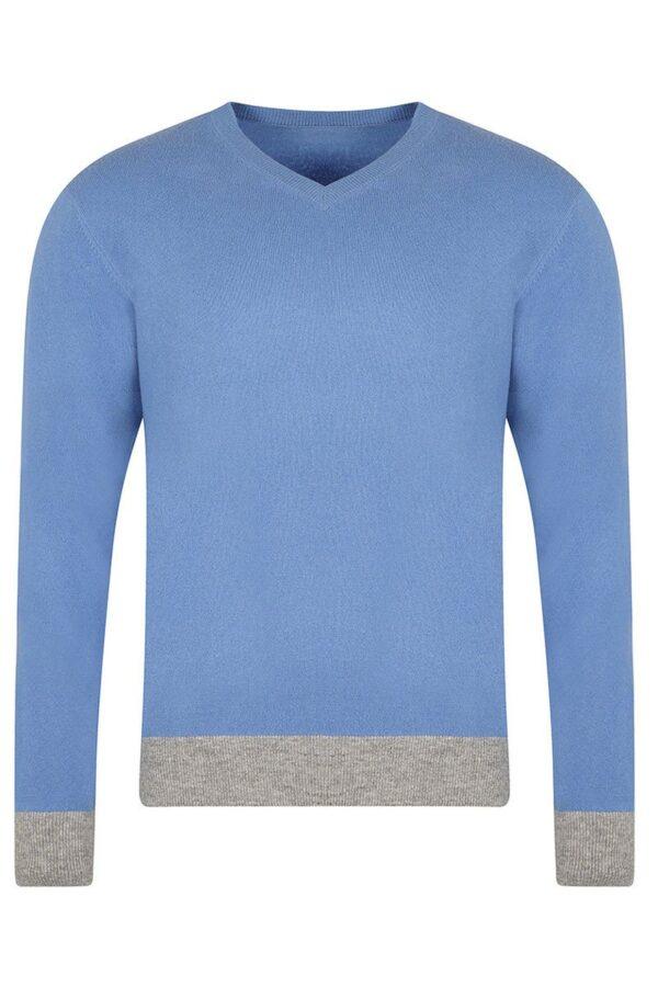 York V-Neck Soft Blue Sweater