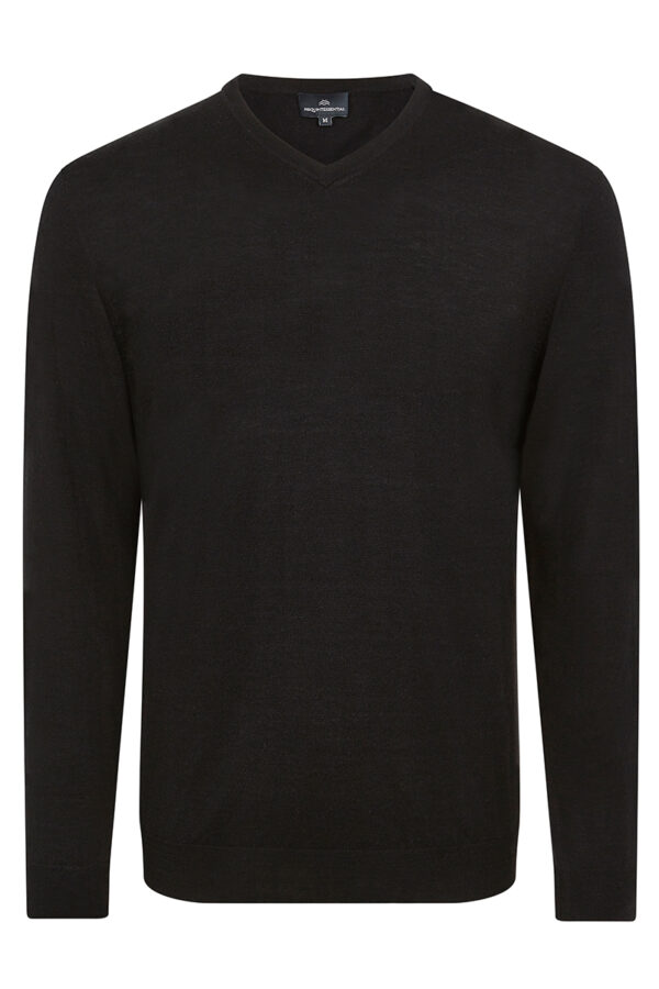 Pitt - Cashmere & Silk Blend V- Neck Sweater - Black MrQuintessential