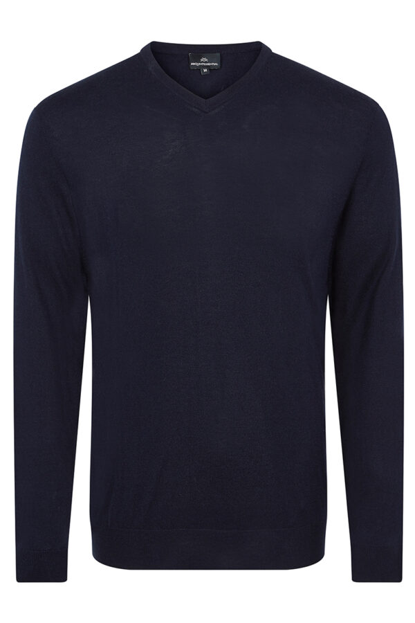 Pitt - Silk & Cashmere V Neck Sweater - Navy MrQuintessential