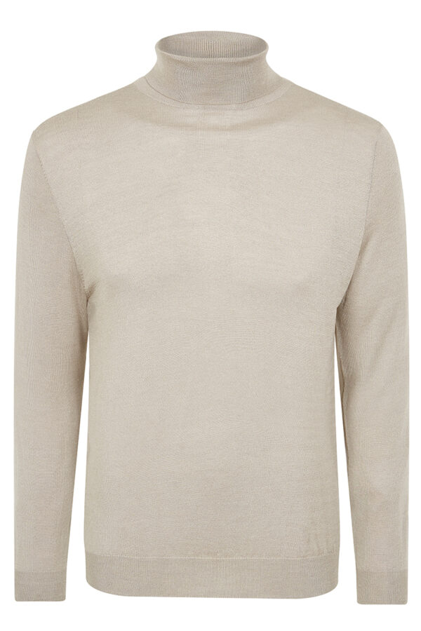 CAINE - Cashmere and Silk Blend Rollneck Sweater - Beige MrQuintessential