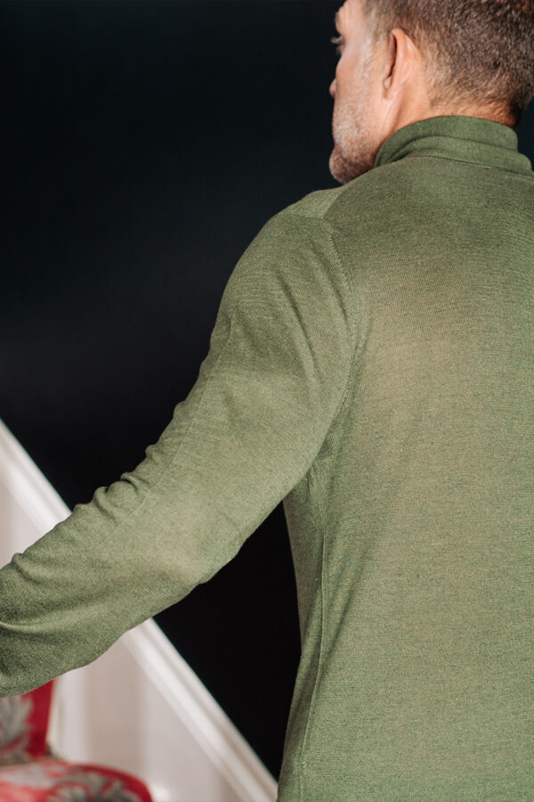 CAINE - Silk and Cashmere Blend Rollneck Sweater - Olive MrQuintessential