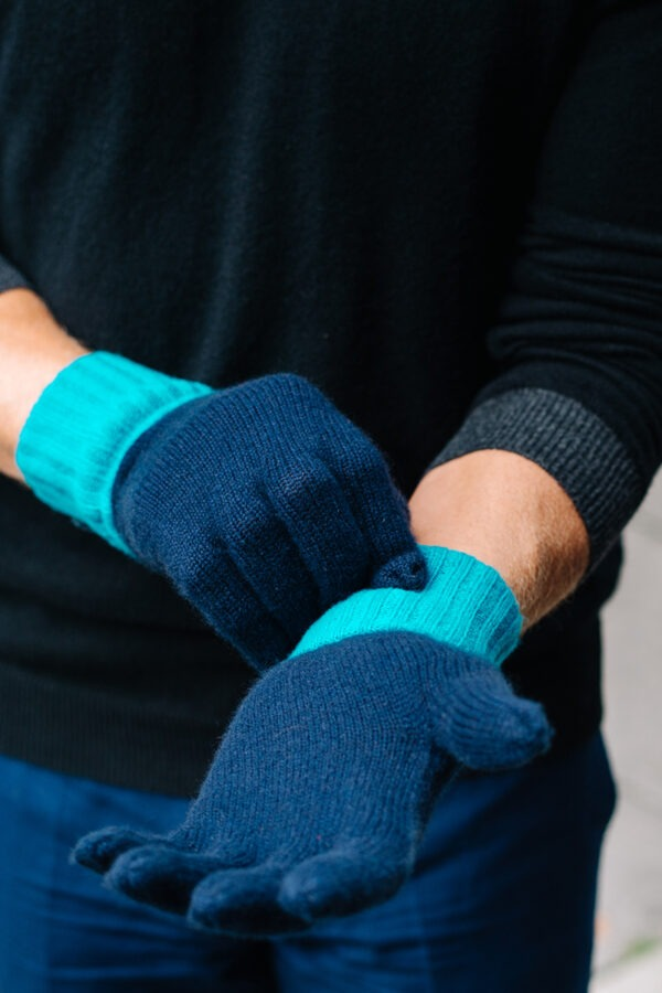Elba Contrast Cashmere Gloves - Navy MrQuintessential