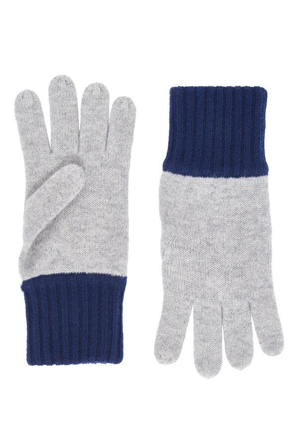 Elba Contrast Cashmere Gloves - Grey MrQuintessential