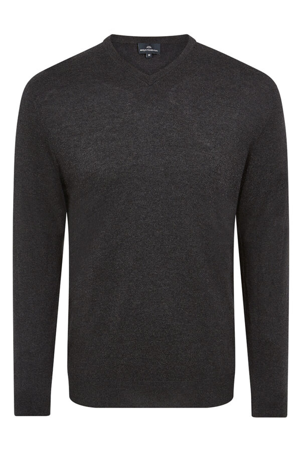 Pitt Men's Cashmere Silk Blend V Neck Sweater - Charcoal MrQuintessential