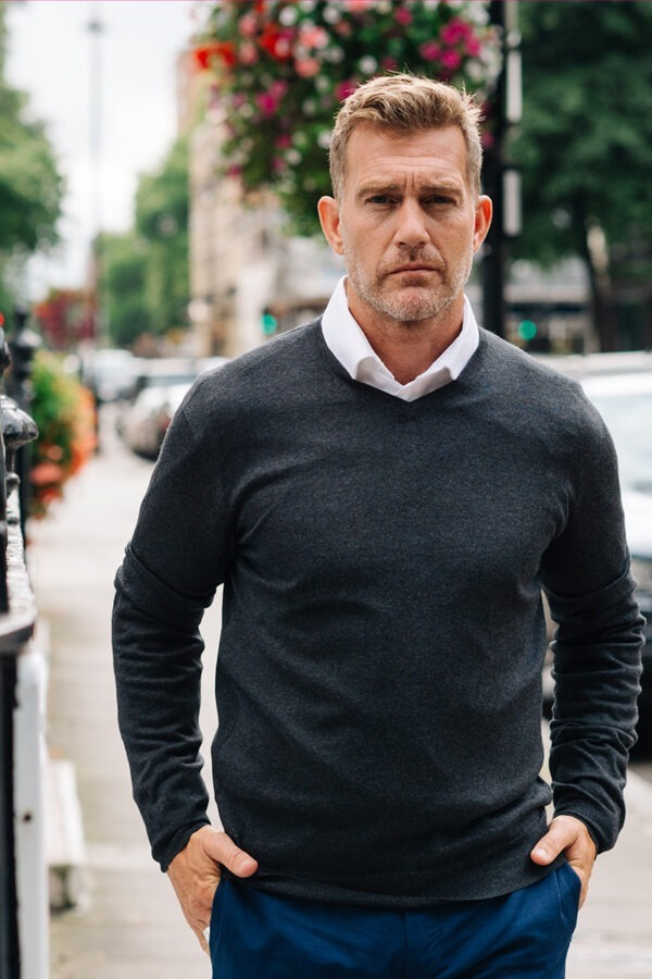 Pitt Men's Cashmere Silk Blend V Neck Sweater - Charcoal MrQuintessential