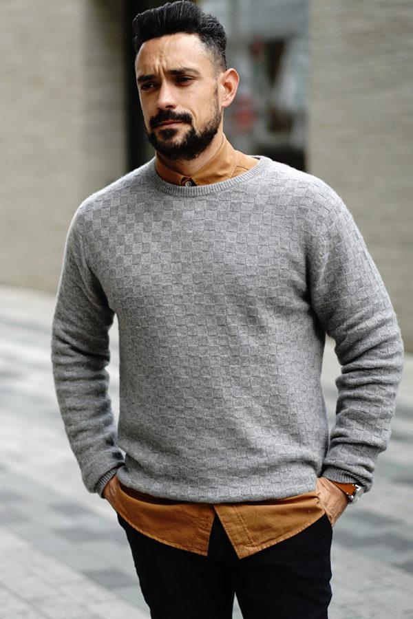 NEWMAN – Cashmere basket weave soft grey crew neck MrQuintessential