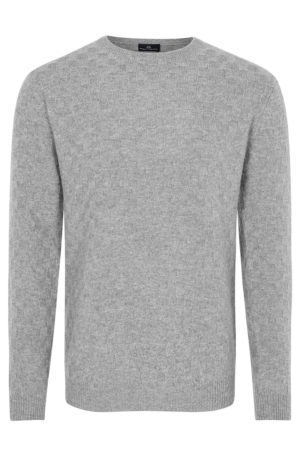 NEWMAN – Cashmere basket weave soft grey crew neck MrQuintessential