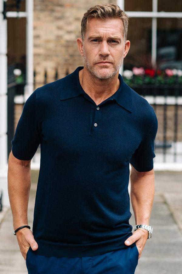 Shoal Silk Blend Polo Shirt - Navy MrQuintessential