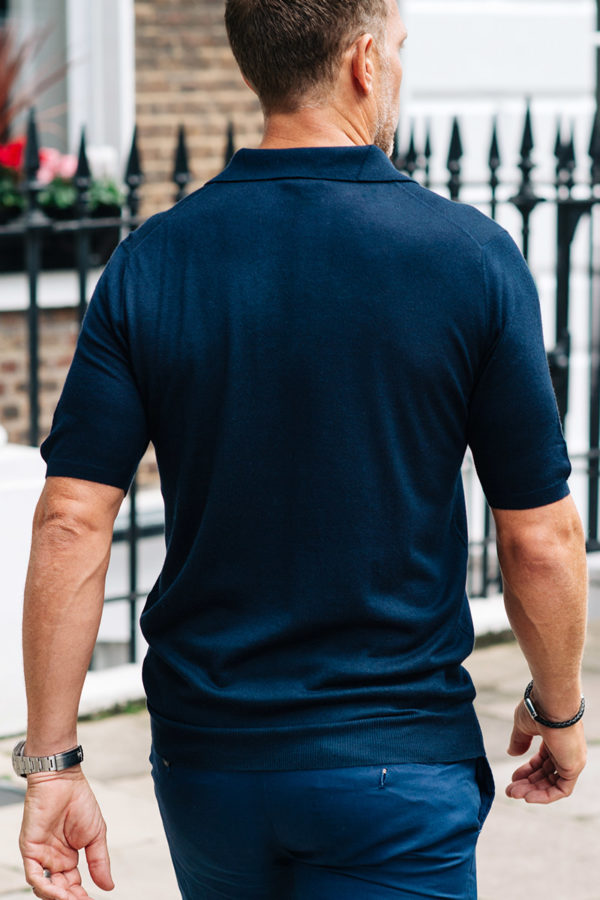 Shoal Silk Blend Polo Shirt - Navy MrQuintessential