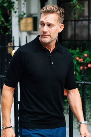 Shoal Silk Blend Polo Shirt - Black MrQuintessential