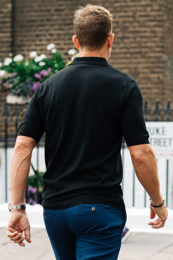 Shoal Silk Blend Polo Shirt - Black MrQuintessential