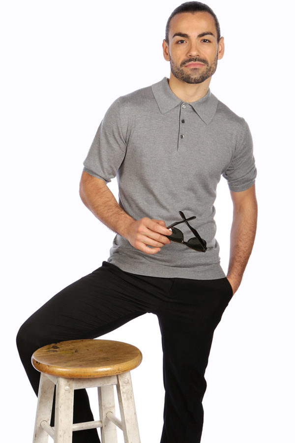 Shoal Silk Blend Polo Shirt - Birch Grey MrQuintessential
