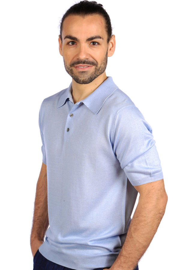 Shoal Silk Blend Polo Shirt - Summer Blue MrQuintessential