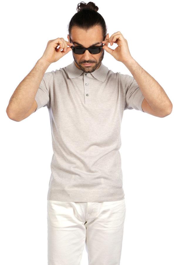 Shoal Silk Blend Polo Shirt - Sand MrQuintessential