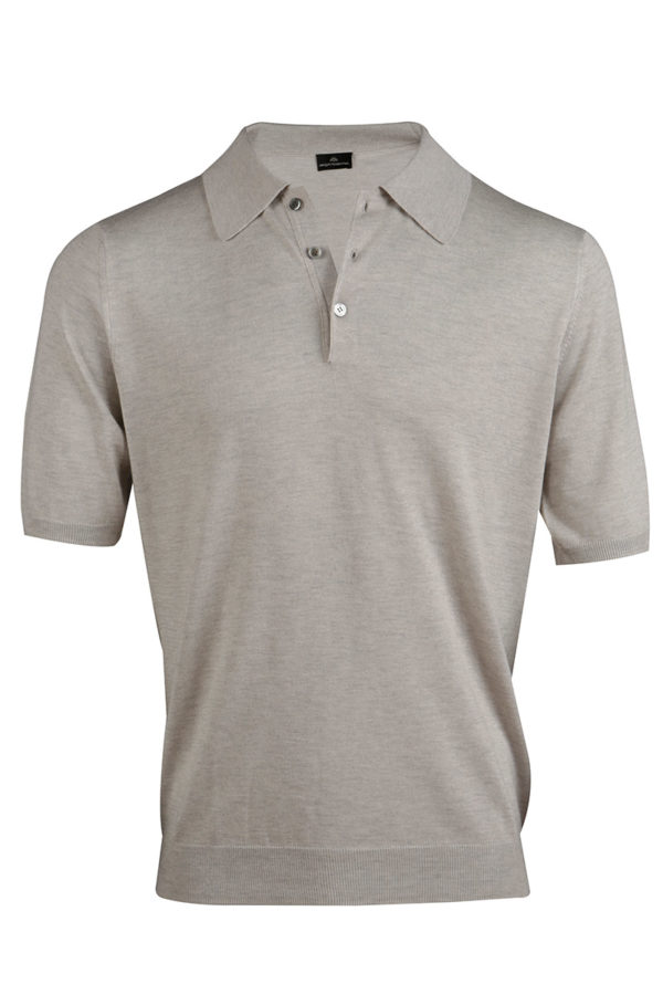 Shoal Silk Blend Polo Shirt - Sand MrQuintessential