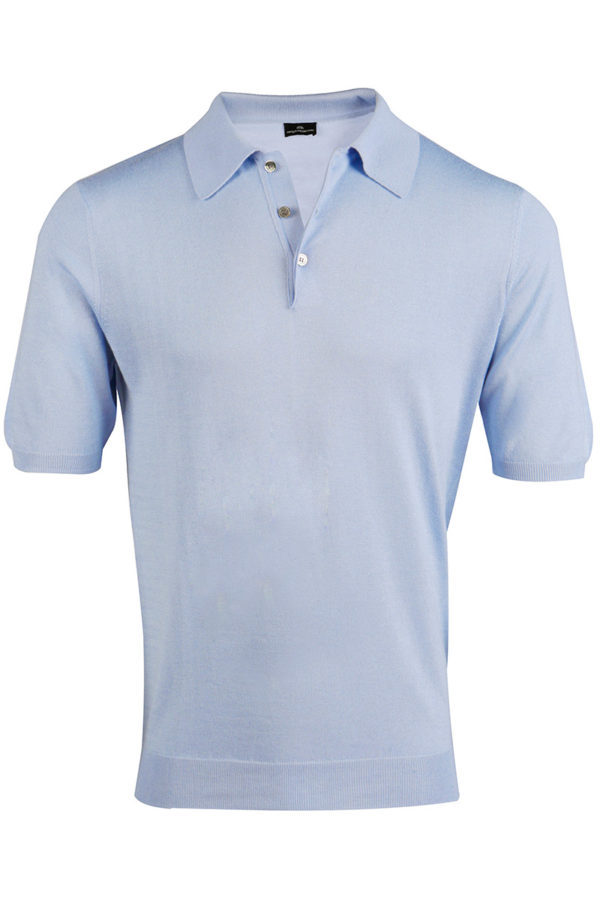 Shoal Silk Blend Polo Shirt - Summer Blue MrQuintessential