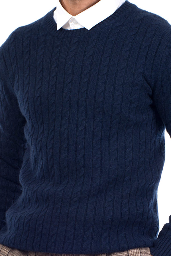 Afton Cable Knit Cashmere Crew Neck Sweater - Indigo Blue MrQuintessential