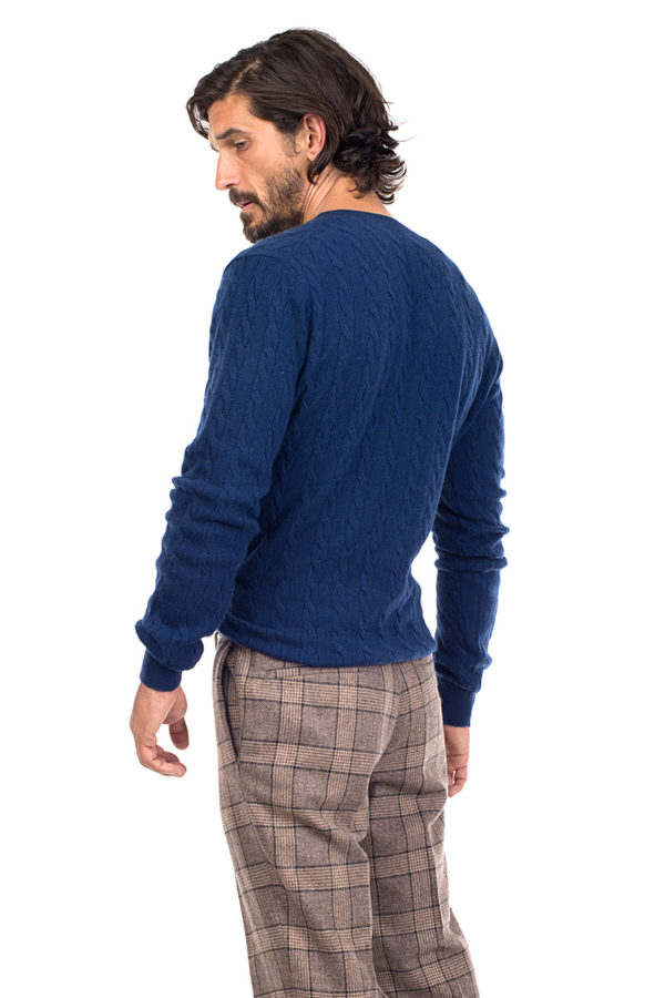 Boulder Cashmere Cable Knit V Neck Sweater - Denim Blue MrQuintessential