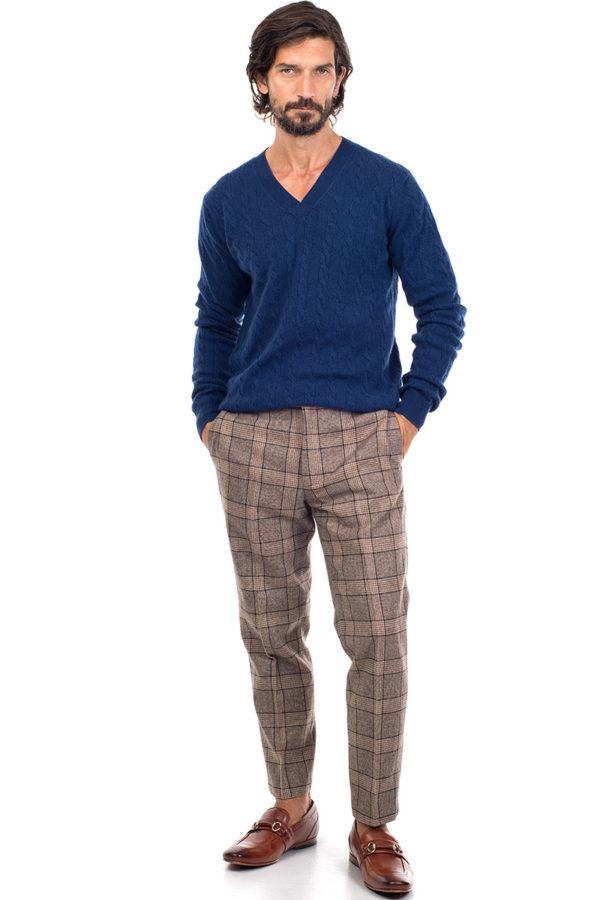 Boulder Cashmere Cable Knit V Neck Sweater - Denim Blue MrQuintessential