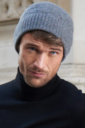 Zephyr – Luxury basket weave cashmere beanie - Heather Grey MrQuintessential