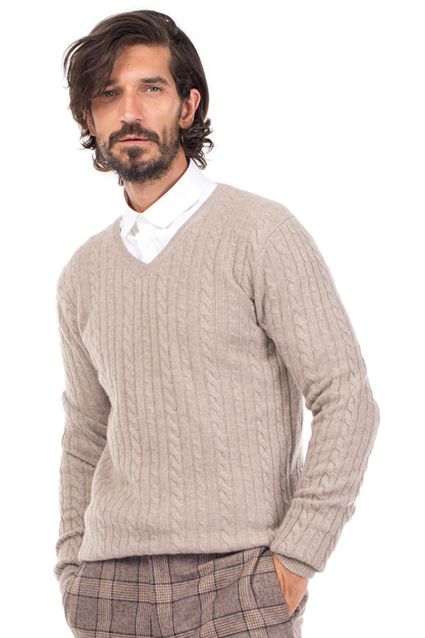 Boulder Cashmere Cable Knit V Neck Sweater - Beige MrQuintessential
