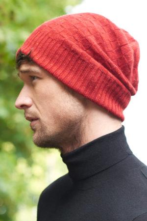 Zephyr – Luxury basket weave cashmere beanie - Russet MrQuintessential