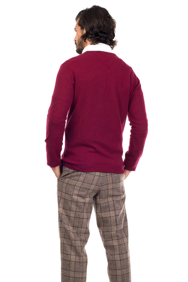 Killington Cashmere V Neck Sweater  - Burgundy MrQuintessential