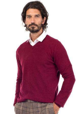 Killington Cashmere V Neck Sweater  - Burgundy MrQuintessential