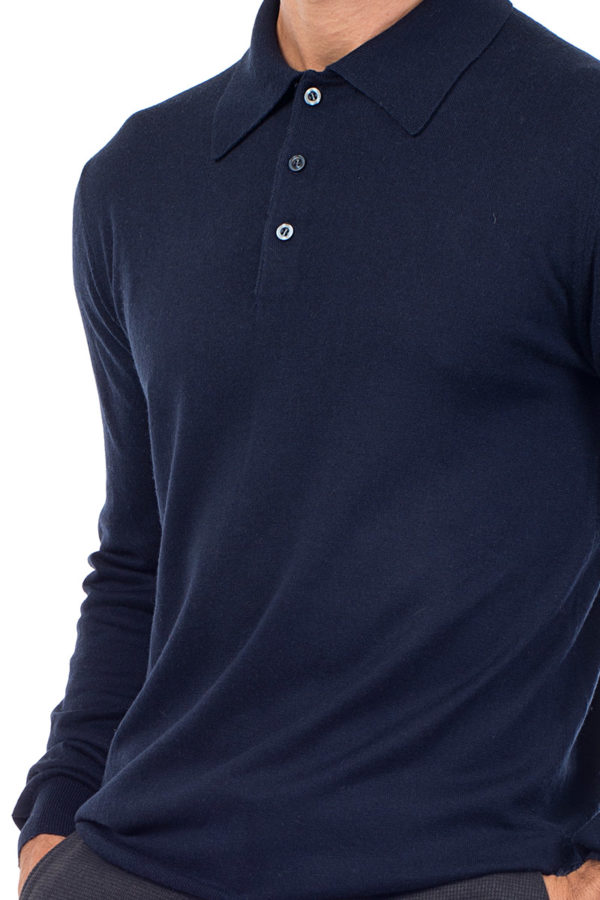 Cascade Silk and Cashmere Polo Shirt - Navy MrQuintessential