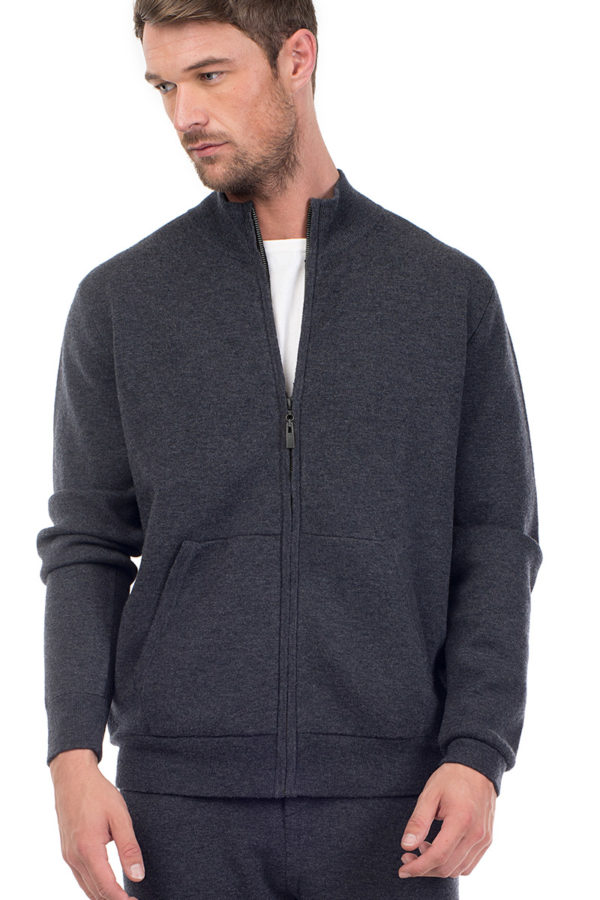 Cooper Cashmere Blend Zip Up  - Melange Grey MrQuintessential