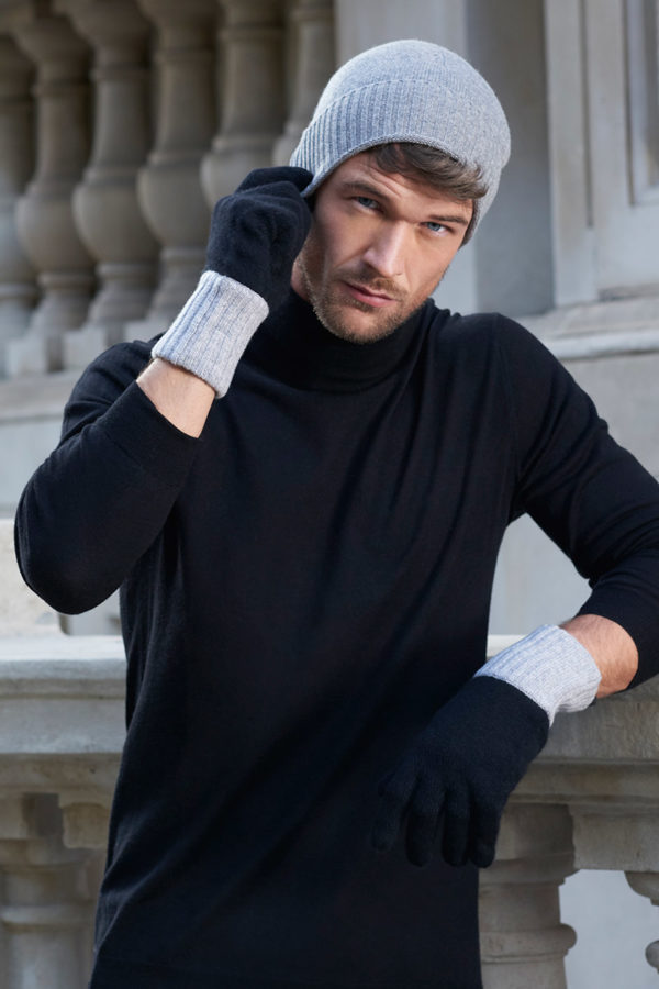 Elba Contrast Cashmere Gloves - Black / Soft Grey MrQuintessential