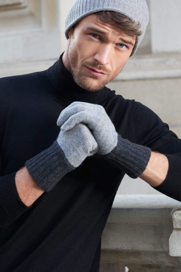 Elba Contrast Cashmere Gloves - Soft Grey / Charcoal MrQuintessential