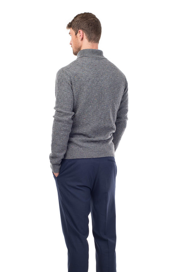 Jackson - Luxury Textured Cashmere Roll Neck Sweater - Heather Grey MrQuintessential