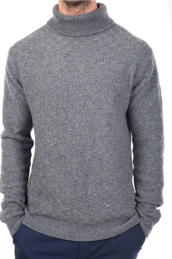 Jackson - Luxury Textured Cashmere Roll Neck Sweater - Heather Grey MrQuintessential
