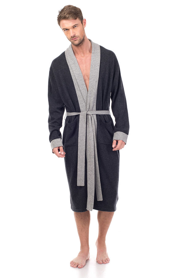 Stowe Pure Cashmere Knit Robe- Charcoal MrQuintessential