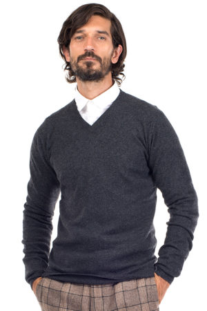 Killington Cashmere V Neck Sweater-Charcoal Grey MrQuintessential