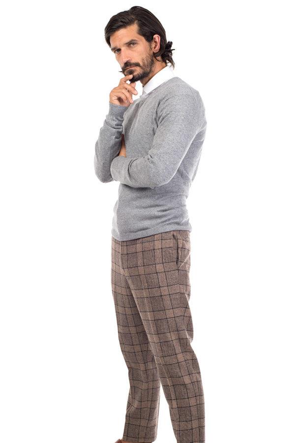 Killington Cashmere V Neck Sweater- Silver Grey MrQuintessential
