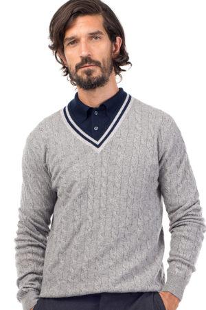 Liberty - Striped Cashmere V Neck Sweater MrQuintessential