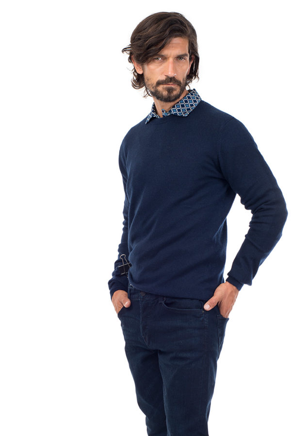 Canyon Cashmere Crew Neck Sweater-  Navy MrQuintessential