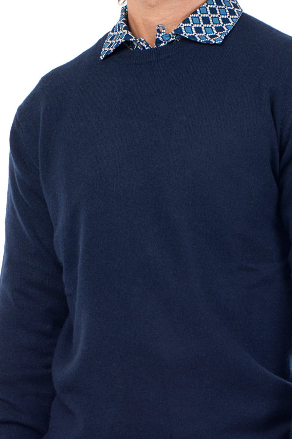 Canyon Cashmere Crew Neck Sweater- Dark Navy MrQuintessential