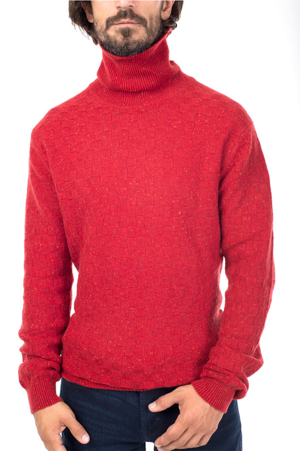 Jackson - Textured Cashmere Roll Neck Sweater - Russet MrQuintessential