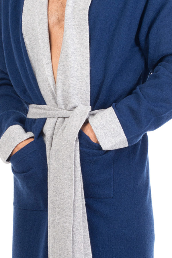 Stowe Pure Cashmere Knit Robe - Denim Blue MrQuintessential