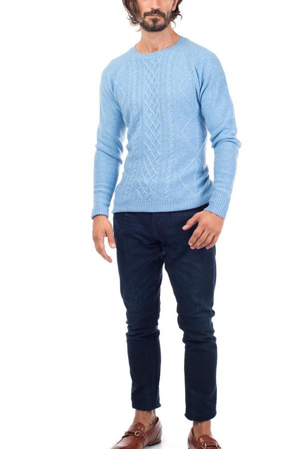 Sunday Cashmere Blend Cable Knit Crew Neck - Soft Blue MrQuintessential