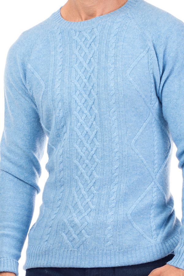 Sunday Cashmere Blend Cable Knit Crew Neck - Soft Blue MrQuintessential