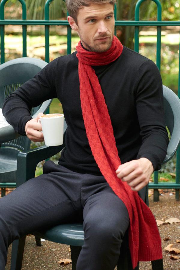 Wisp – Luxury basket weave cashmere scarf - Russet MrQuintessential
