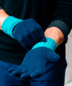 Blue cashmere gloves modeled by male