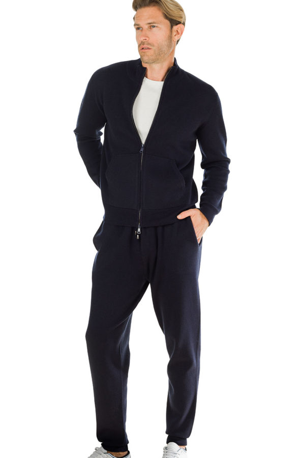 Squaw Cashmere Blend Sweat Pants - Melange Blue MrQuintessential