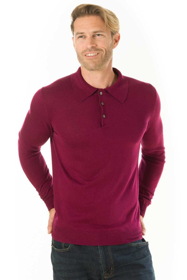 Cascade Silk and Cashmere Polo Shirt - Maroon MrQuintessential