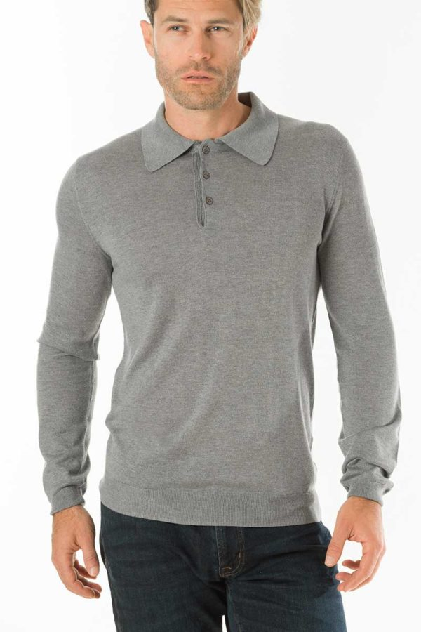 Cascade Silk and Cashmere Polo Shirt - Silver Grey MrQuintessential