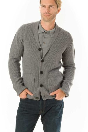 Woodbury Shawl Neck Cardigan - Heather Grey MrQuintessential